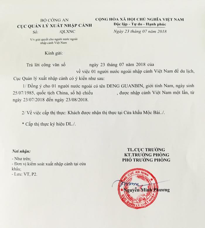 Báo giá Công văn nhập cảnh Việt Nam cuối năm 2018